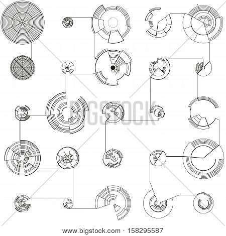 Abstract hud elements on white background. High tech motion design, round interfaces, connecting system. Science and technology concept. Futuristic vector decoration