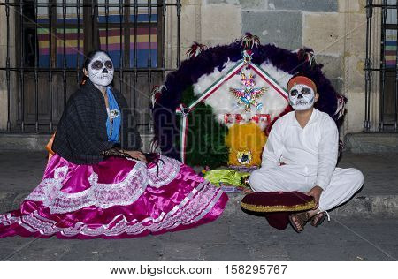 OAXACA, OAXACA, MEXICO - NOVEMBER 1, 2016: Traditional costumes at day of the dead parade in Oaxaca, Oaxaca, Mexico