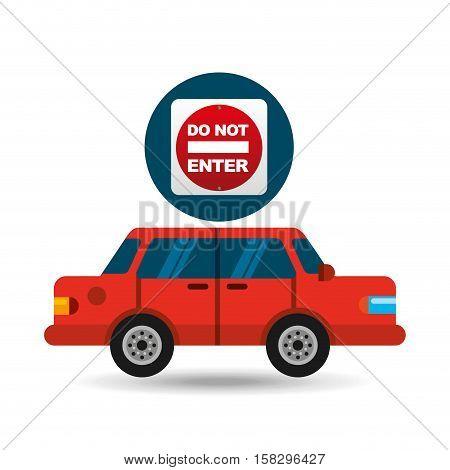 do not enter road sign sedan red vector illustration eps 10