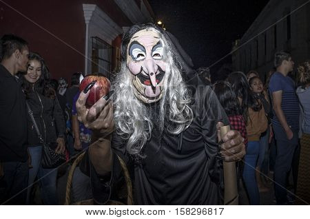 OAXACA, OAXACA, MEXICO - NOVEMBER 1, 2016: Evil Queen witch costume during traditional day of the dead parade in Oaxaca, Oaxaca, Mexico
