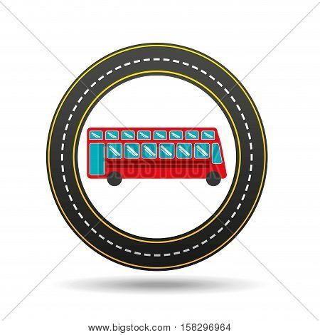 red london bus circle road way design vector illustration eps 10