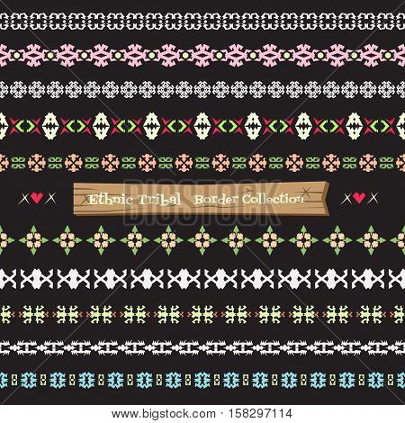 Seamless abstract vector Tribal border collection Ethnic border set pattern .boho style.