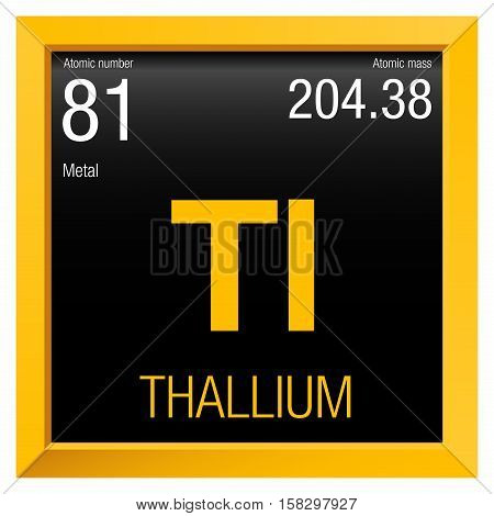Thallium symbol. Element number 81 of the Periodic Table of the Elements - Chemistry - Yellow  square frame with black background