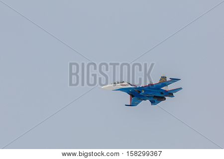 Omsk, Russia - March 19, 2016: Fighter Sukhoi Su-27 in airshow Russian Knights.
