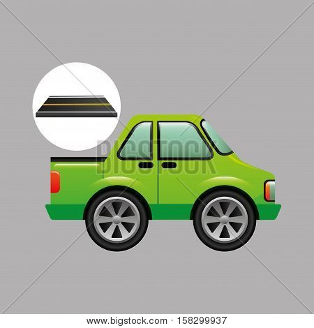 green pick up truck on road vector illustration eps 10
