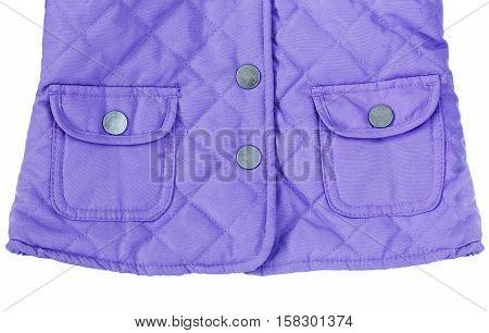 Close up macro fashionable stylish purple violet blue jacket coat with two pockets isolated on white background
