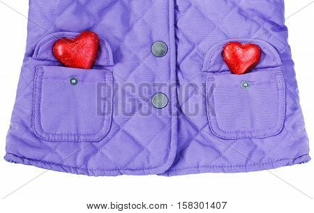 Close up macro fashionable stylish purple violet blue jacket coat with two pockets and two red heart isolated on white background Valentine love romance concept