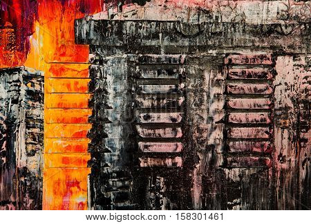 Beautiful colorful abstract stylized textured background paint strokes spots and blotches stains card wallpaper with copy space