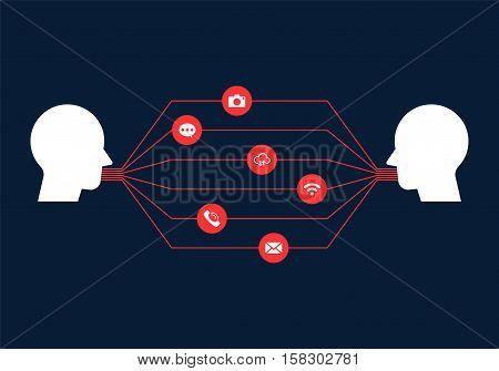Communication channels connection network concept flat design vector illustration
