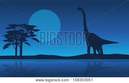 At night brachiosaurus scenery of silhouettes vector art