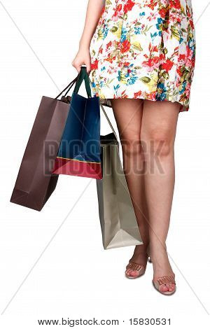 Elegance Lady Holding Bags From A Shop
