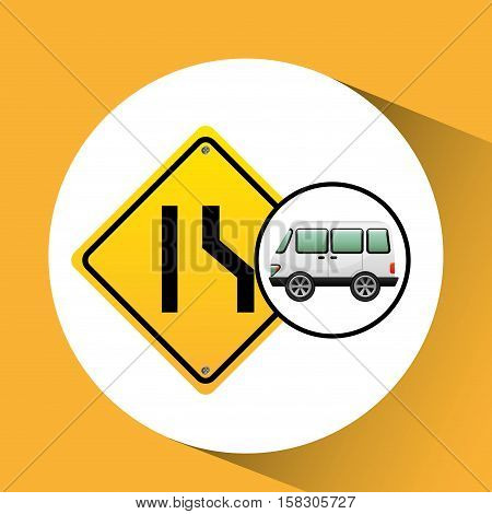 micro bus with narrows road vector illustration eps 10
