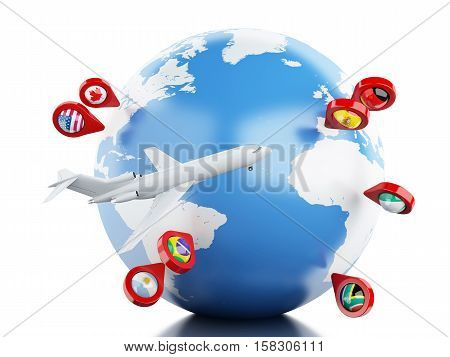 3D Illustration. Airplane flying around globe with map pointer. Travel concept. Isolated white background.