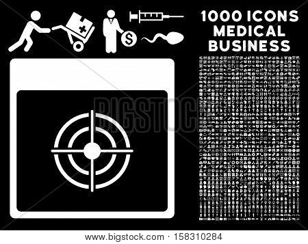 White Bullseye Calendar Page vector icon with 1000 medical business pictograms. Set style is flat symbols, white color, black background.