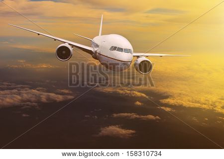 traveling plane flying over sun rising sky