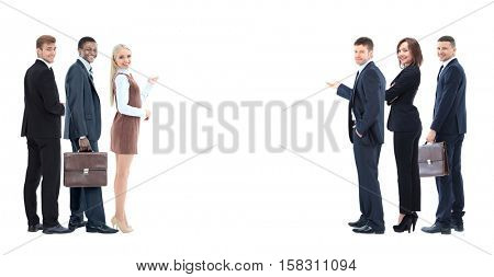 Portrait of happy smiling young business people showing blank ar