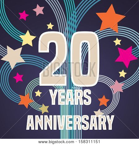 20 years anniversary vector illustration, banner, flyer, icon, symbol, sign, logo. Graphic design element with fireworks for 20th anniversary, birthday card