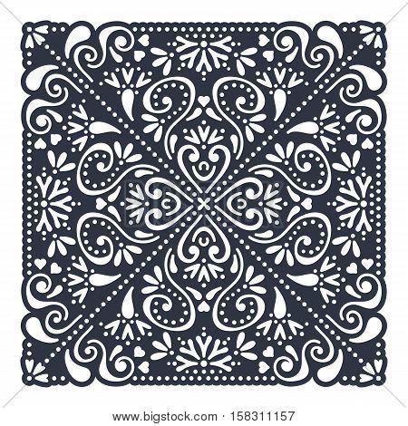 Vector wedding card laser cut template. Vintage decorative elements. Hand drawn background. Islam, Arabic, Indian, ottoman motifs. Vector illustration