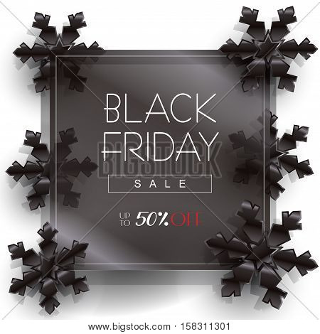 Abstract Black Friday Sale poster design, template. Vector illustration. Black Friday Sale discount background with black snowflakes. Advertising banner.