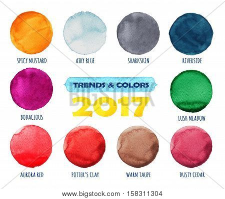 Color and trends of the year 2017. Watercolor blue hand painted circles set. Beautiful watercolor design elements. Watercolor background. Abstract watercolor hand painted circle background.
