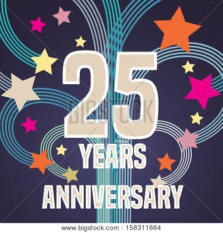 25 years anniversary vector illustration, banner, flyer, icon, symbol, sign, logo. Graphic design element with fireworks for 25th anniversary, birthday card