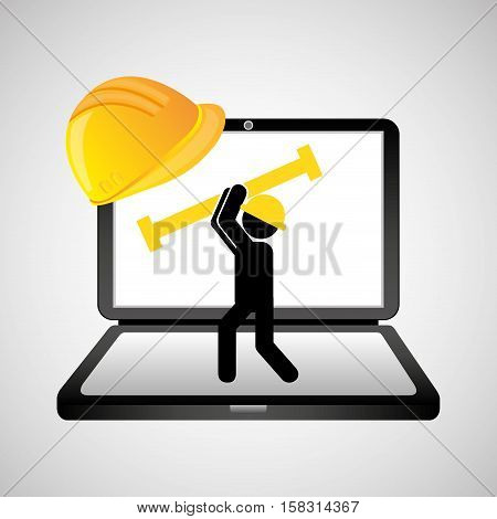 under construction web page worker tool vector illustration eps 10