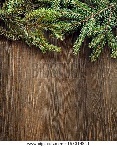 Christmas Tree on wooden background space for lettering