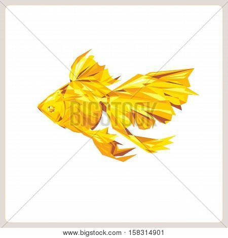 Goldfish Abstract polygon vector on white background