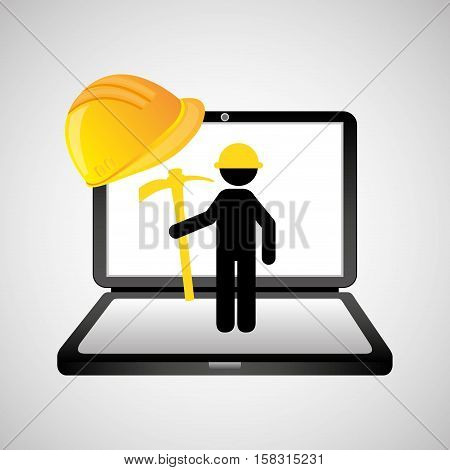 under construction web page worker pick axe vector illustration eps 10