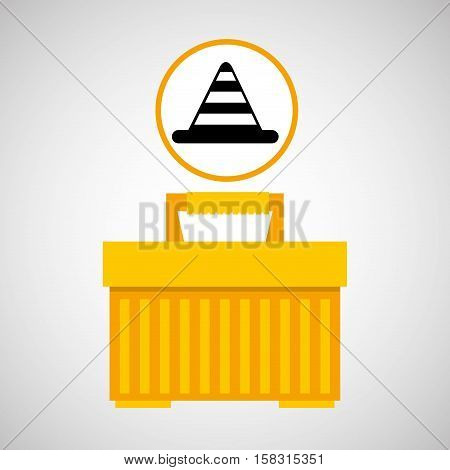 plastic tool box cone icon vector illustration eps 10