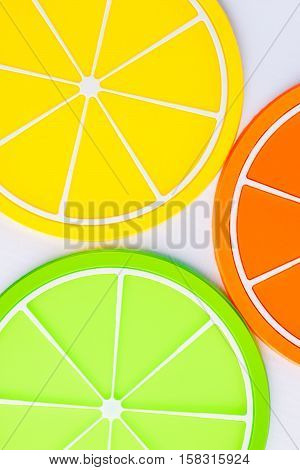 Coasters In The Form Of Orange Slices Closeup