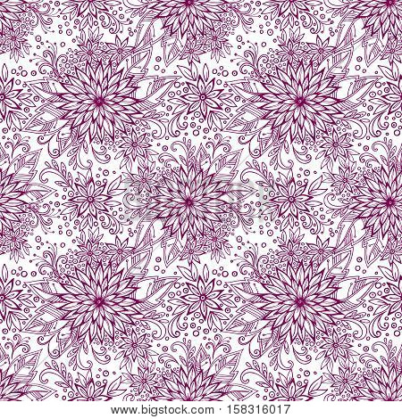 Seamless Pattern, Tile Contours Floral Ornament, Symbolic Flowers, Leafs and Rings Isolated on White Background. Vector