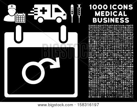White Impotence Calendar Day vector icon with 1000 medical business pictograms. Set style is flat symbols, white color, black background.
