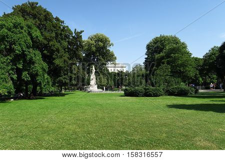 Mozart Statue in the Park of Hofburg Palace in Austria