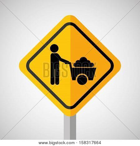 under construction road sign wheelbarrow vector illustration eps 10