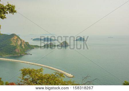 seascape blue sea and island and green tree