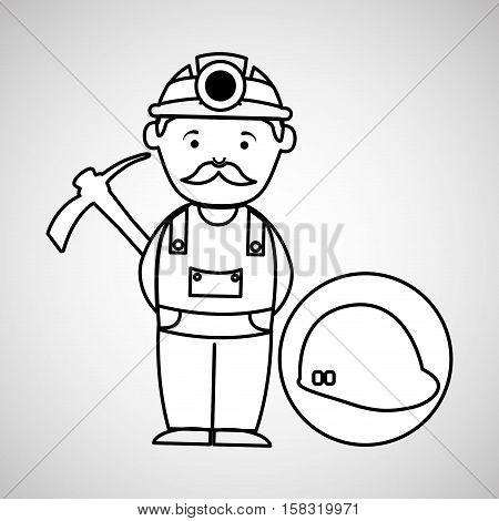 mine worker pickaxe with helmet vector illustration eps 10