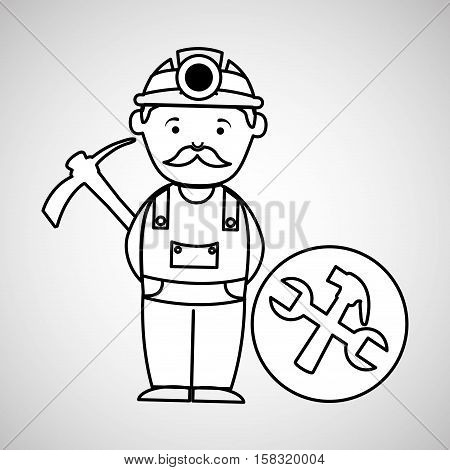mine worker pickaxe with tools vector illustration eps 10