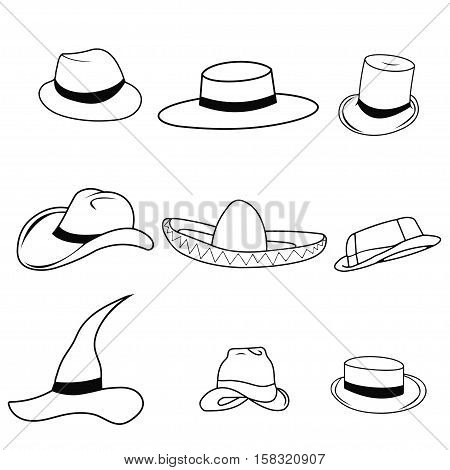Hipster Retro Vintage Vector Icon Set of hats - sombrero, cylinder, passport, Safari pith  wizard  Ravin, English , a cowboy, vector
