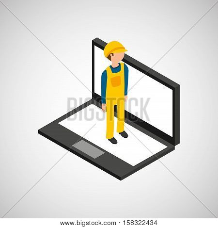 under construction worker  with laptop vector illustration eps 10