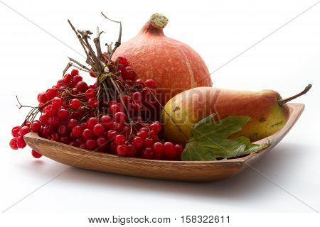 Autumn gifts. Still life with pumpkin, viburnum and pear on wooden plate and white background.