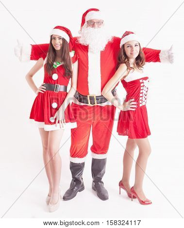 Big Santa with a hot girls. Santa girlfriend. Sexy babes. Christmas party 2016. Celebrating New Year 2017. Costumes