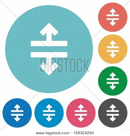 Horizontal split white flat icons on color rounded square backgrounds