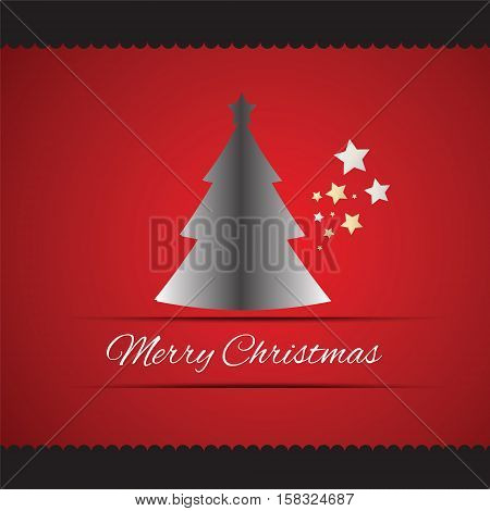 Merry Christmas tree greeting card with Merry Christmas lettering vector illustration Eps 10.