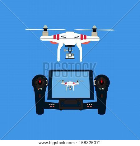 Quadcopter with camera and remote control. An unmanned aerial vehicle.