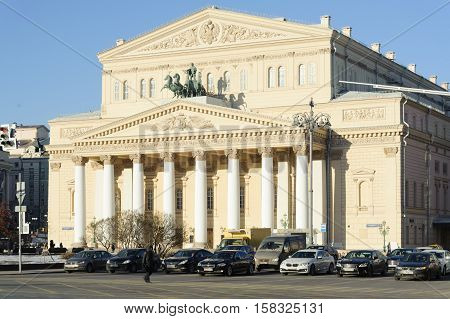 MOSCOW - NOVEMBER 22: Bolshoi Theater building in Teatralnaya Square on November 22 2016 in Moscow. Bolshoi Theatre is historic theatre in Moscow which holds performances of ballet and opera.