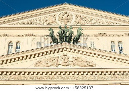 MOSCOW - NOVEMBER 22: Bolshoy Theatre building facade and Quadriga in Teatralnaya Square on November 22 2016 in Moscow. Bolshoi Theatre is historic theatre in Moscow which holds performances of ballet and opera.