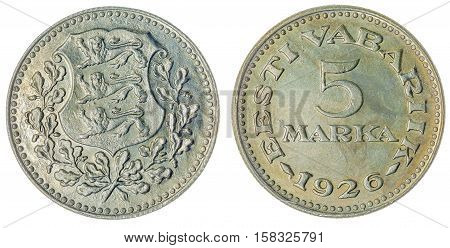 5 Marka 1926 Coin Isolated On White Background, Estonia