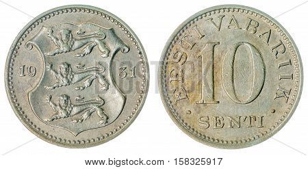 10 Senti 1931 Coin Isolated On White Background, Estonia
