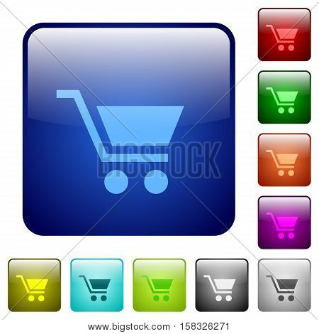 Empty cart color glass rounded square button set